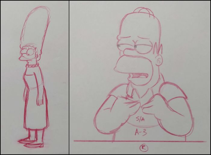 The Simpsons - 2 x Original drawings of Homer and Marge Simpson
