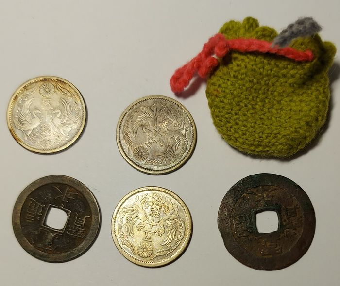 Japan. Collection of 5 coins. 18-19th centuries, incl. 3 silver coins