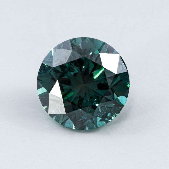 Diamant - 0.60 ct - Brillant - Fancy Intense Greenish Blue - I1
