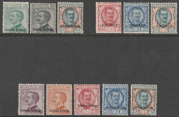 Italiaans Eritrea 1925/29 - Michetti and Floral new colours and values, the 3 complete intact sets, very rare - Sassone S.20+24+28  - NN.93/5+113/5+123/7