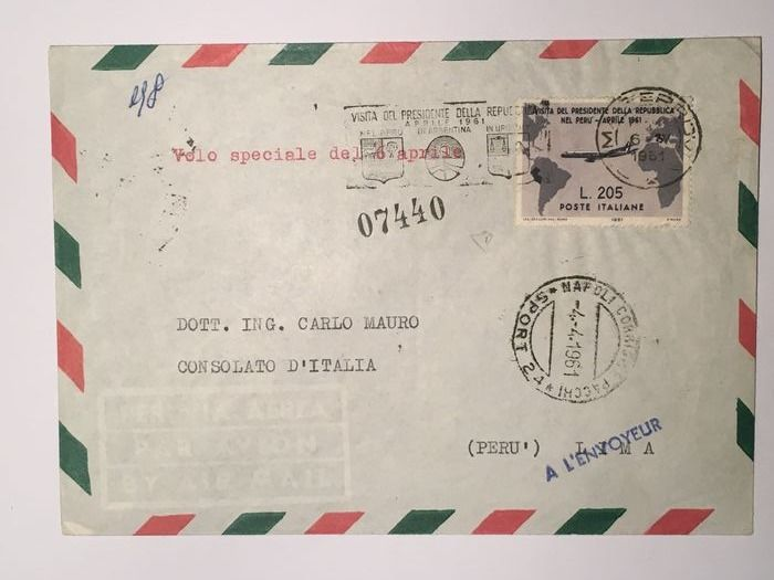 Italien Republik 1961 - L. 205 Gronchi rosa covered with 205 grey on aerogramme from Naples to Lima - Sassone N. 921, 920