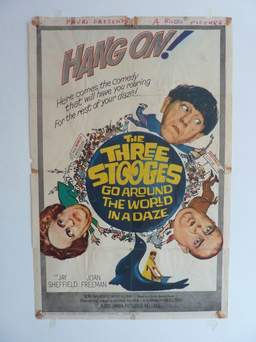 The Three Stooges Go Around the World in a Daze (1963) - Poster, Original US Cinema release - 1 Sheet