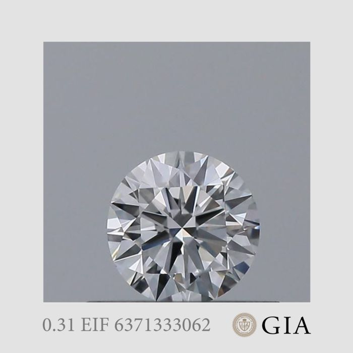 1 pcs Diamante - 0.31 ct - Brillante - E - IF (Inmaculado)