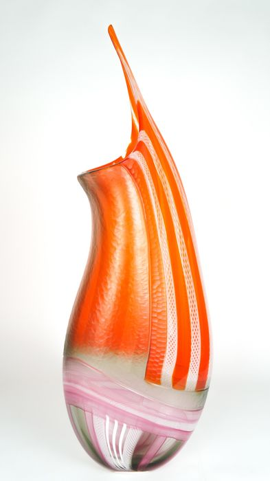 Afro Celotto (Murano) - Murano - Vase Exclusif Ground Orange - Signé - (74 cm) - (6.1 kg)