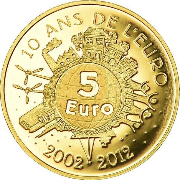 Frankreich. 5 Euro 2012 '10 Ans de L'euro' - with Box and Certificate of Authenticity