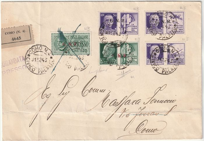 Nationale Republikeinse Garde - Editie van Brescia II + III Type 1944 - Express stamp 1.25 l.+ 4 values PdG on registered express mail to district from Como, very rare and - Sassone NN.E19/III+16/II+22/II+23/II+24/II