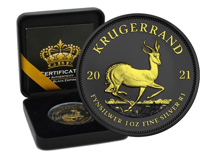 South Africa. 1 Rand 2021 Gold Black Empire Edition in Box - 1 Oz