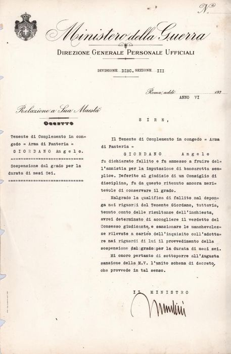 Benito Mussolini - Autograph; Military Decree with Grade Suspension for Bankruptcy - 1928