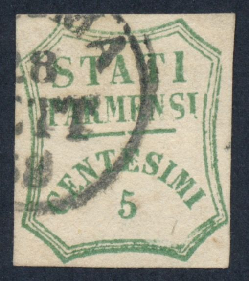 Italian Ancient States - Parma 1859 - ASI - Parma - 1859 5 c. light blue green used - Sassone 12