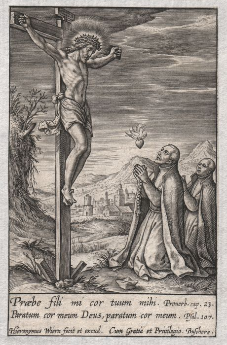Hieronymus Wierix (1553-1619) - Christ on the cross with two Jesuites
