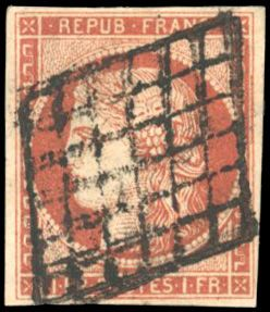 France - Ceres, 1849 1850 - 1 franc vermilion, 4 even margins with a light and well-positioned cancellation. - Yvert 7