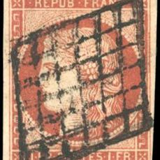 Frankreich - Ceres, 1849 1850 - 1 franc vermilion, 4 even margins with a light and well-positioned cancellation. - Yvert 7