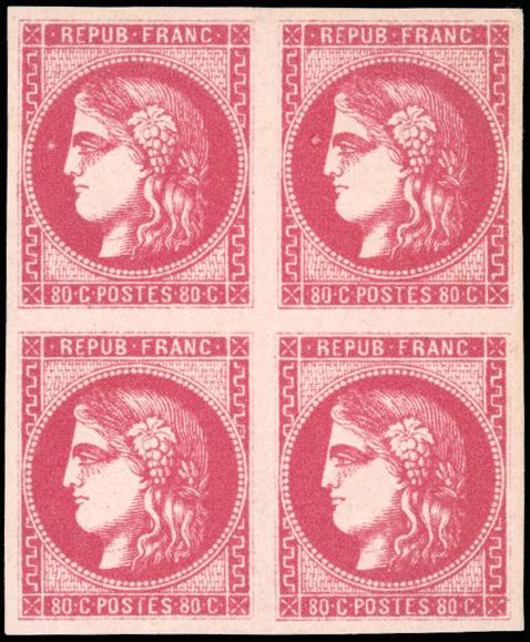 Frankreich - Bordeaux issue, 1870 1871 - 40 cents bright pink - Block of 4 - Superb - Behr certificate - Yvert 49c
