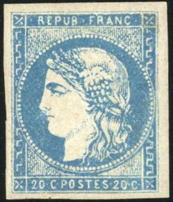 Frankrijk - Bordeaux issue, 1870 1871 - 20 centimes  blue, lovely margins, very lovely. Behr certificate. - Yvert 44B