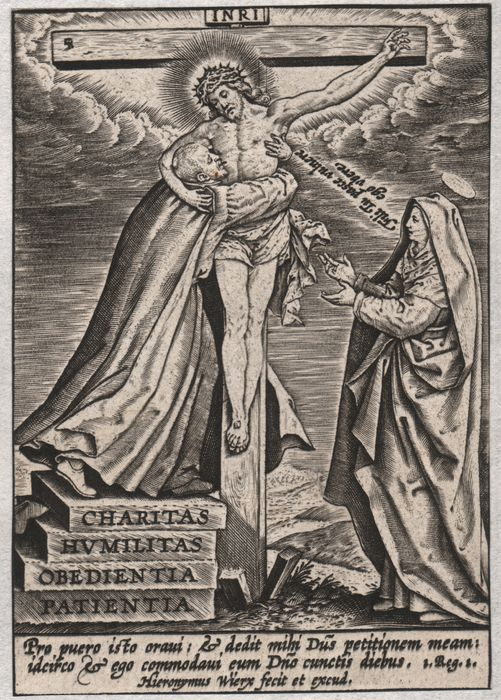 Hieronymus Wierix (1553-1619) - Christ on the cross embraced by S. Francis (Xavier or Assisi) - Rare
