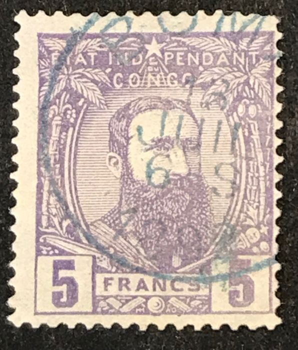 Belgian Congo 1887 - Leopold II in profile looking to the right - 5 fr violet - Central cancellation BOMA cert. BCSC - OBP / COB 11