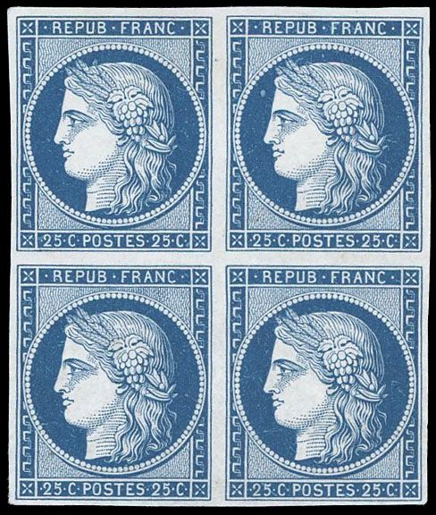 Frankreich - Ceres, 1849 1850 - 25 centimes  dark blue, block of 4. Superb. Behr certificate. - Yvert 4a