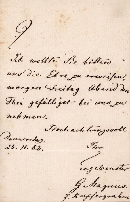 Heinrich Gustav Magnus Chemist - Autograph; Letter for Date Request - 1852