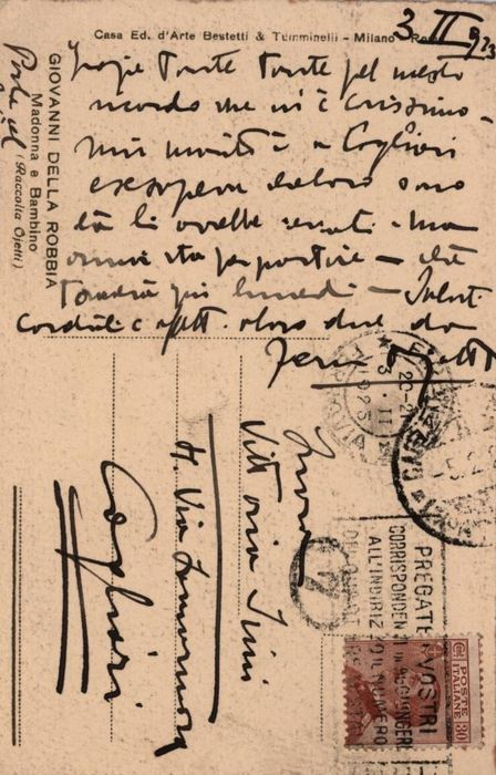 Ugo Ojetti - Autograph; Postcard with Displacements to Vittoria Sini from Cagliari - 1923