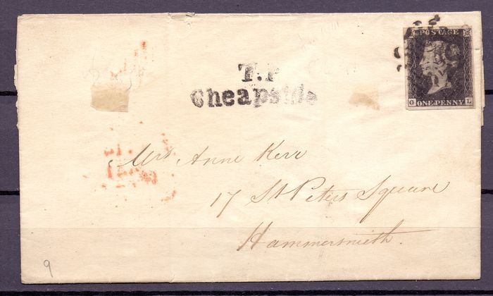 Great Britain 1840 - Black Penny on cover to Hammersmith