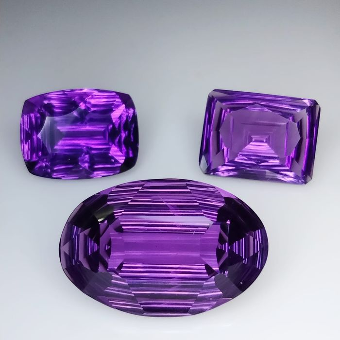 3 pcs Morado Amatista - 29.21 ct