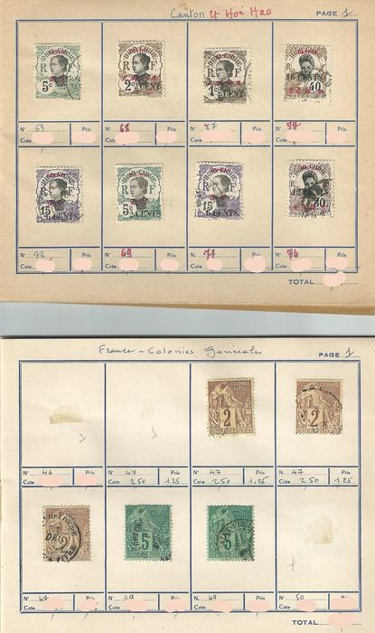 Indochine 1900 - Lot de 291 timbres d'Indochine, Chine et Hong Kong