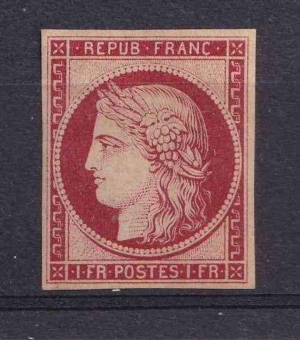France 1850 - Sup Ceres, 1 franc red, reprint of 1862. - Yvert 6f