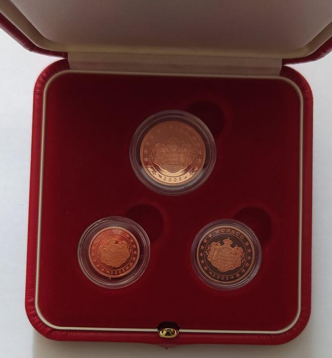 Monaco. 1 + 2 + 5 Cents 2005 Proof (3 coins) in set