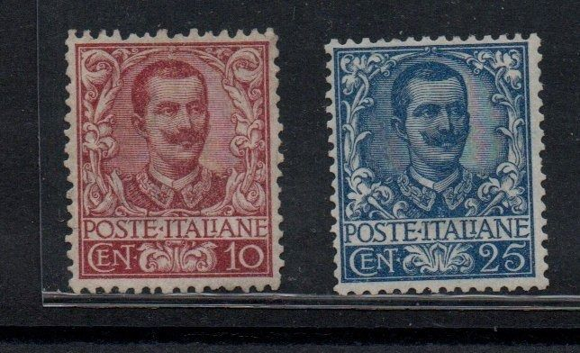 Italy Kingdom 1901 - Floral, 10, 25. 40, 50 cents - Sassone NN. 71, 73, 74 ,76