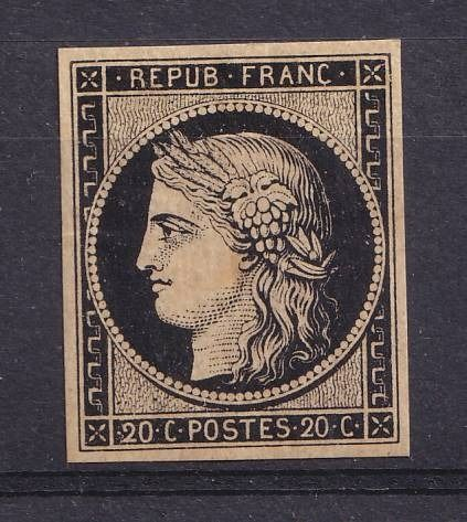 Frankrijk 1849 - Sup Ceres, 10 centimes black, signed Brun and Calves. - Yvert 1