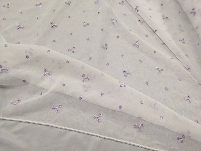 Yarn-dyed embroidered fabric 660 x 330 cm - Linen, Organza - Late 20th century