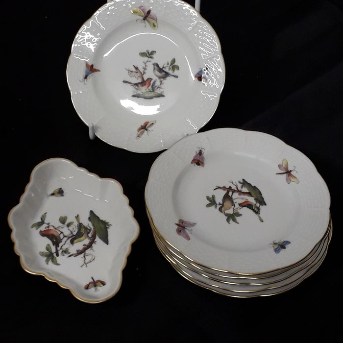 Rothschild-Birds - 6 Teller and 1  Schale - Herend - platos (7) - Porcelana