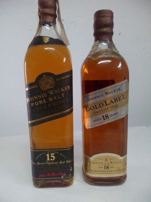 Johnnie Walker 15 years old Pure Malt & 18 years old Gold Label - b. 1990s - 70cl - 2 bottles