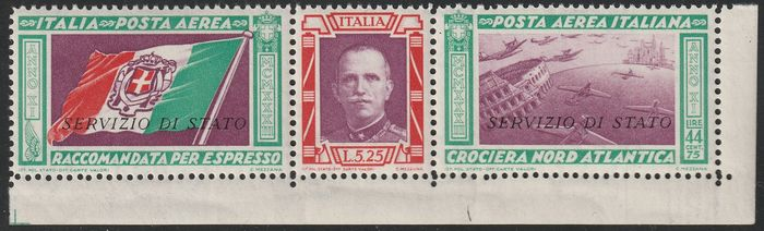 Koninkrijk Italië 1933 - State Service triptych 50 l.  Letter watermark 10/10 sheet corner, centred, intact, rare and - Sassone N.1a