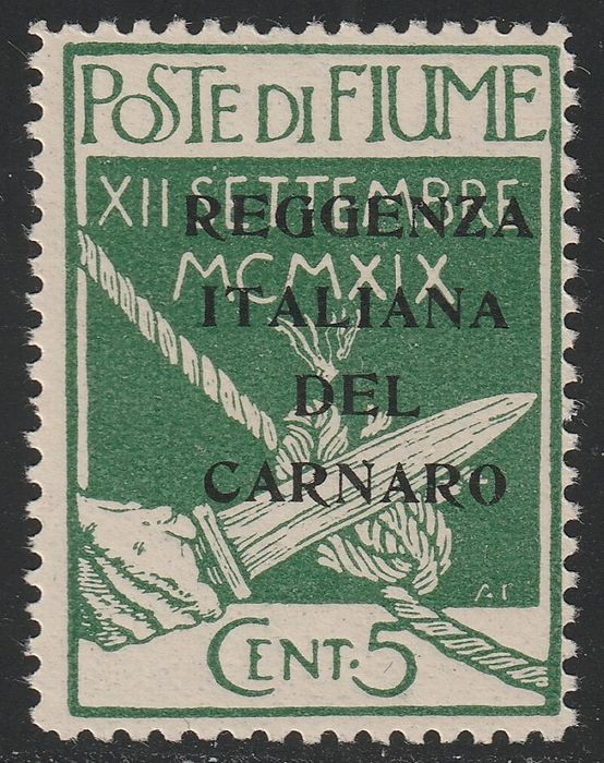 Italy - Fiume 1920 - Legionaries 5 c. green print proof, intact, very rare and certified - Sassone N.133 PROVA