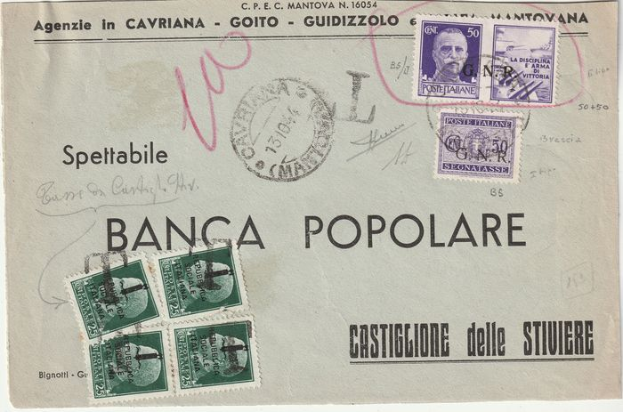 Republikeinse Nationale Garde - Brescia-editie 1944 - Twin 50 c. Pdg cpn 50 c. Postage due on envelope from Cavriana taxed with RSI 25 c. x 4 rare - Sassone NN.491+PDG21/II+SG53/I