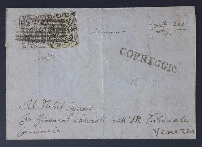 Italian Ancient States - Modena 1852 - 15 cents and 25 cents without dots, on letter from Correggio (pt10) to Venice - Sassone NN. 3, 4b
