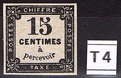France - Tax No. 4 ** - 1870 - 15 centimes black, litho. - Yvert 2019