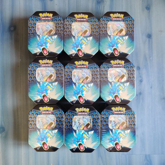 Pokémon - Tin Pokémon Hidden Fates Gyarados GX Tins x9 - New & Sealed