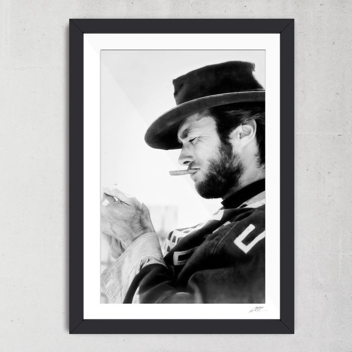 For A Few Dollars More (1965) - Clint Eastwood - 1 - Foto, Framed. with Coa - nr 01/50 - 70X50 cm