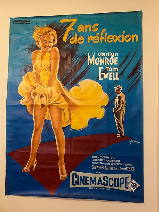 The Seven Year Itch (1955) - Marilyn Monroe - Poster, French Cinema re-release - 120x160 cm