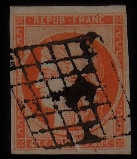 France - Ceres, imperforate, 40 cts orange - Yvert 5