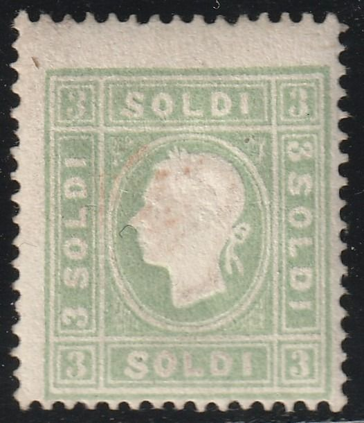 Italiaanse oude staten - Lombardije Venetië 1862 - 3rd issue 3 soldi yellow green mint with full gum, rare and certified - Sassone N.35