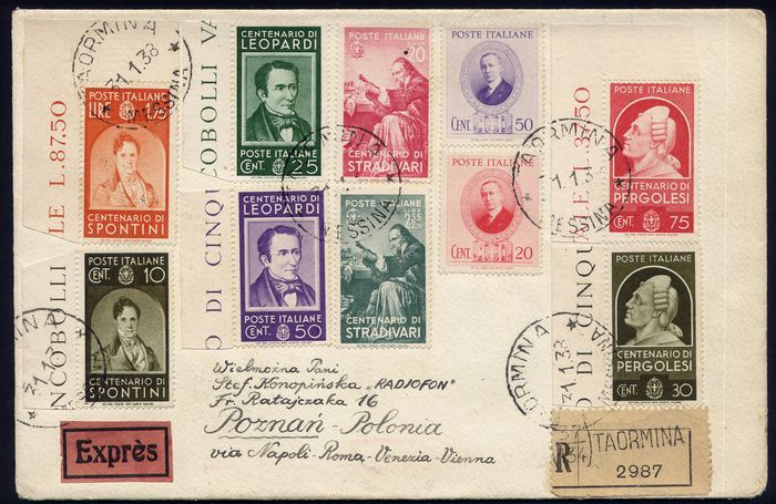 Italy Kingdom 1931/1939 - Lot of registered envelopes with commemorative stamps