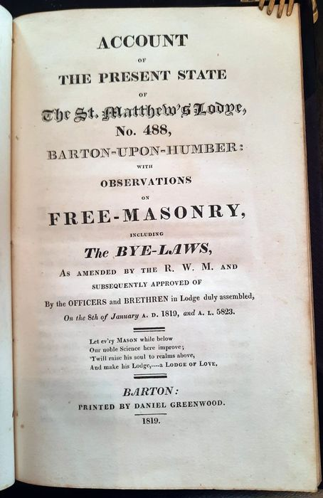 Anonym - Account of the present state of the St. Matthew's Lodge, No. 488 - 1810