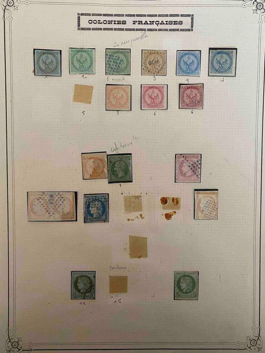 France - Colonies (general issues) - General colonies, old collection on Yvert sheet - mint and cancelled, Yvert value: €3,600