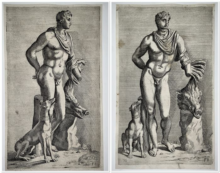Lot of 2 engravings depicting Meleager  - Le Bourguign ( 1594-1649 ): - Copper etchings with margins - c 1630-53
