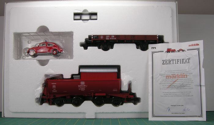 Märklin 1 - 58216 - Freight wagon set - Company fire brigade; with Tank truck with water, Low side car and Beetle - DB