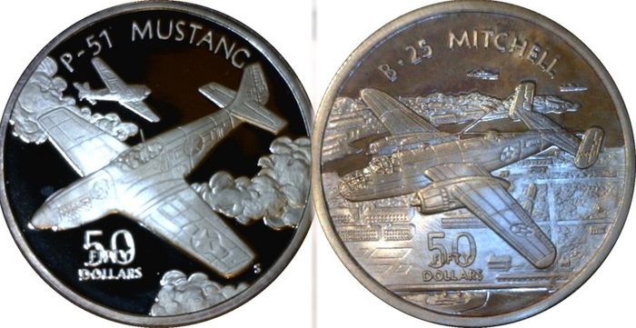 """Marshall Islands. 50 Dollars 1991  Proof """"P-51 Mustang"""" and """"B-25 Mitchell"""" 2 x 1 Oz"""