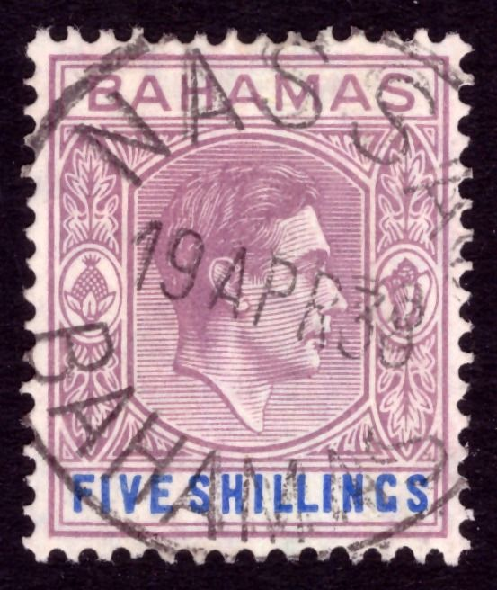 Bahamas 1938 - 5sh first day postmark - Stanley Gibbons 156